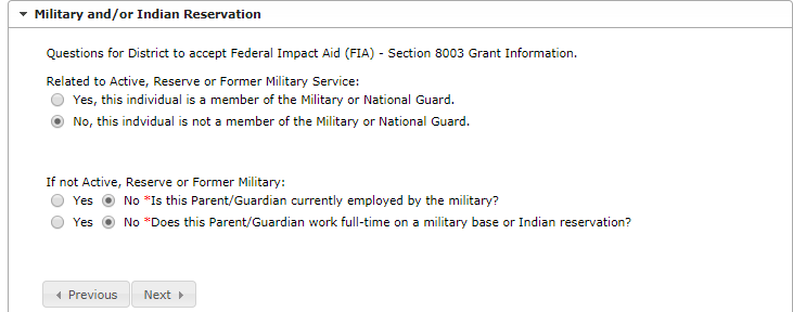 screenshot of military section of online registration
