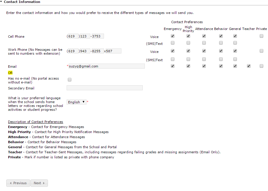 Sample screen of entering Parent/Guardian Contact information in Online Registration