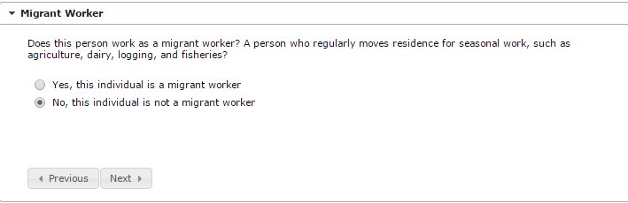 Sample screen of entering Parent/Guardian Migrant Worker information in Online Registration
