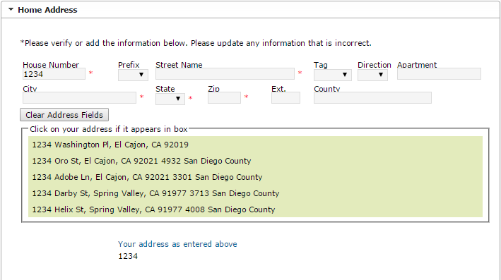 screenshot of another step in the online registration process